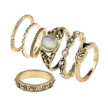 Fashion Vintage Opal MIDI Rings Set Antique Gold Plated  7pcs / sets BOHO National Style Female Charms Jewelry Ring For Women