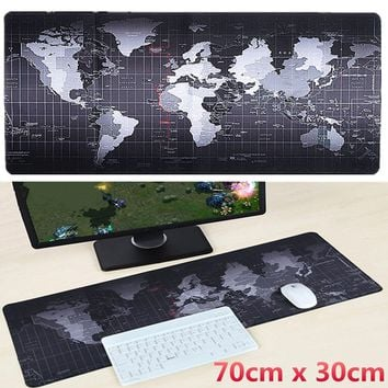 Large Size World Map Anti-Slip Keybord Mouse Pad Mat For Office Computer Laptop Speed Game 700 x 300 x 3mm