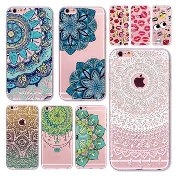 Case For iPhone 7 6 6S 5 5S SE Transparent Cases Sexy Girl Lips Floral Paisley Flower Mandala Henna Silicone Soft Phone Cover