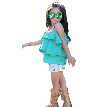 Girls Ruffles and Denim Shorts 2pc. Outfit