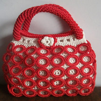 Handmade knitted crochet bag,RED bag,custom bag,woman bag,Tote bag ,  Large over the shoulder bag , Hold all bag , Sling bag for women
