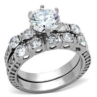 Antique Style CZ Stainless Steel Wedding Ring Set