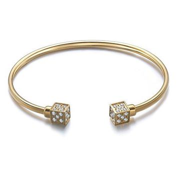 Angelady Womens Gold Plated 316L Stainless Steel Bracelet Open Cuff Bangle with Cubic Zirconia for Gift