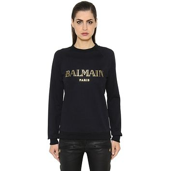 Balmain Women Gold logo Top Sweater Pullover Sweatshirt