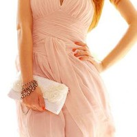PINK STRAPLESS COCKTAIL FASHIONABLE DRESS