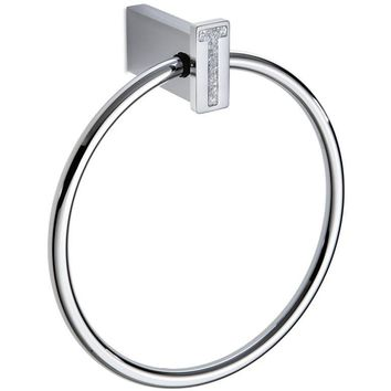 Lux Carmen Swarovski Towel Ring Bar Holder Bath Hand Towel Holder Towel, Brass