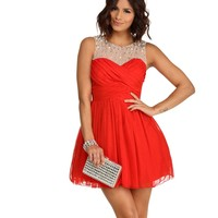 Sarah-Red Illusion Dress