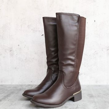 classic tall riding boot in Brown
