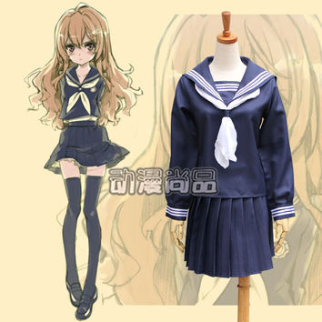 New Toradora! Cos Anime clothes Aisaka Taiga Navy blue sailor suit Class students school uniforms Costumes Accessories Free