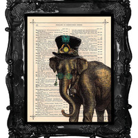 Antique Elephant Steampunk illustration by BlackBaroque on Etsy