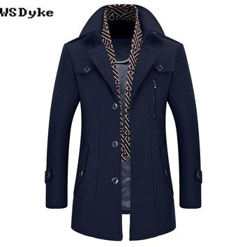 Long Thick Warm Turn Down Collar With Detachable Scarf Overcoat Men Wool