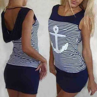 Dark Blue Striped Anchor Pattern Mini Dress