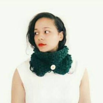 Dark green button cowl, Textured crochet cowl, Soft crocheted winter scarf- The Francesca cowl