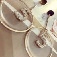 Chanel No.5 cute round earrings shining