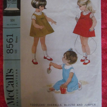 Spring Fever Sale 1960's McCall's Sewing Pattern, 8561! Size 6 Months, Overalls/Blouse/Shirt/Jumper, Infants & Toddlers, Summer and Spring D