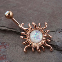 14kt Rose Gold Belly Button Ring Celestial Sun