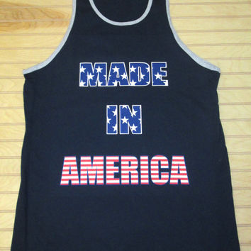 Men's Jersey Tank Top Made In America USA Flag 4th Of July