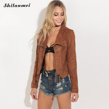 New Fashion Women suede motorcycle jacket Slim brown female coat veste femme cuir epaulet zipper college bomber jacket ladies