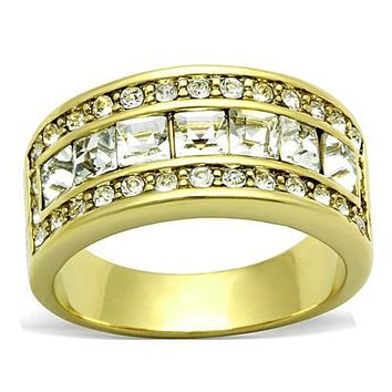 WildKlass Stainless Steel Anniversary Ring IP Gold(Ion Plating) Women Top Grade Crystal Clear