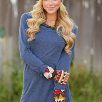 Print Patchwork Loose Sweatershirt
