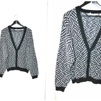 black + white CARDIGAN vintage 80s UNISEX oversized GEOMETRIC long button up sweater os