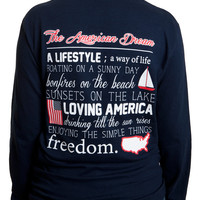 Ladies 'Definition of American Dream' Long Sleeve Tee