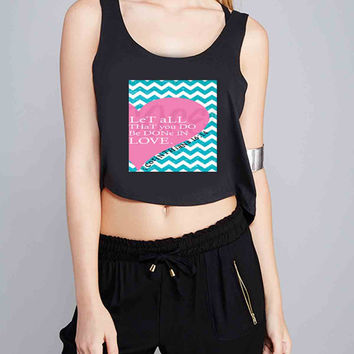 Pink Heart Chevron Bible 1 Corinthians for Crop Tank Girls S, M, L, XL, XXL *07*