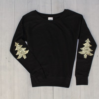 Holiday Elbow Patch Sweatshirt - Not Your Ugly Christmas Sweater