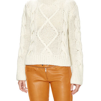 Wythe NY Women's Cable Knit Turttleneck Cashmere Sweater - Cream/Tan