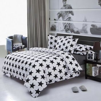 Home Textile Classic Black And White Fashion Striped Bedding Sets Queen Full Size Duvet Cover Bed Sheet 3 pcs Sets
