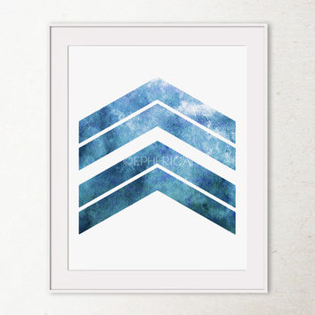 Blue Wall Art, Navy Blue Chevron Wall Art, Geometric Print Art, Office wall decor Printable Wall Art, Chevron Art Print, Chevron Arrows Art
