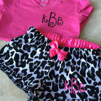Girls monogrammed pajama shorts and shirt. Great gift. Several styles to choose from.