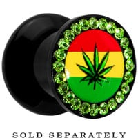0 Gauge Rasta Pot Leaf Acrylic Stash Plug | Body Candy Body Jewelry