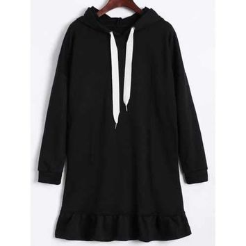 Hooded Drawstring Flounce Dress - Black 2xl