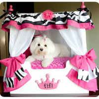 """Roxy"" Cheetah Canopy Dog Bed, WHITE CURTAINS/ CREAM FRAME"