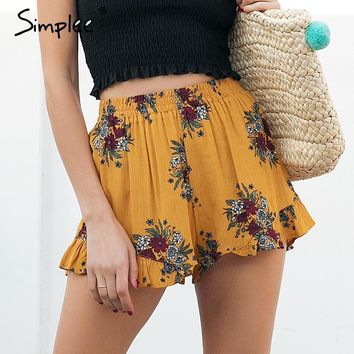 Simplee Floral print shorts women Elastiac waist pleated beach summer shorts Casual streetwear loose shorts 2018