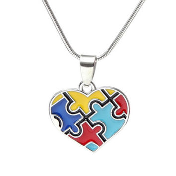 Autism Awareness Puzzle Piece Heart Pendant With Snake Chain Necklace For Men Women Jewelry