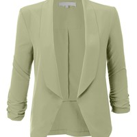 LE3NO Womens Lightweight Ruched 3/4 Sleeve Open Front Blazer Jacket (CLEARANCE)