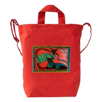 Legend of the Siamese - Whimsical Cat Art Duck Bag