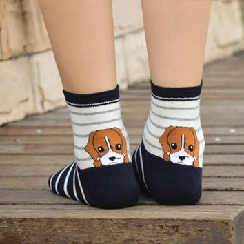 Puppy Print Cotton Warm Short Ankle Socks Funny Crazy Cool Novelty Cute Fun Funky Colorful