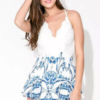 Blue Floral Print Lace Patchwork Backless Strap Romper