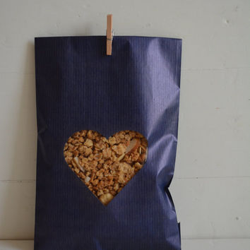 Blue Kraft paper bag with a heart window set of 20 kraft bags complete with cellophane bag --- Wedding favor bags or for a sweet table