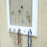 Distressed Shabby Cottage Jewelry Organizer Frame in White Paris Apartment