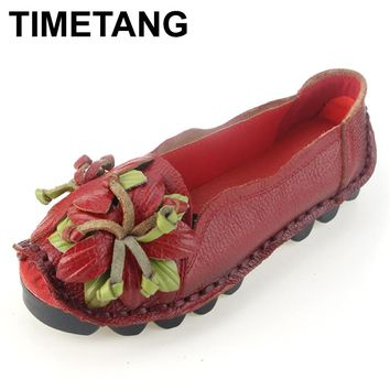 TIMETANG  Loafers Woman Super Soft Genuine Leather Flats Anti-Slippy Flower Bright Color Shoes Pregnant Vintage Women's Shoes