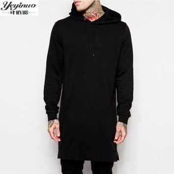 2017 New Arrival Free Shipping Fashion Men Long Black Hoodies Sweatshirts Tee With Side Zip Longline Hip Hop Street wear Shirt