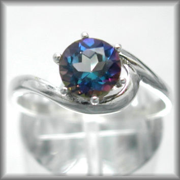 Mystic Blue Mystic Fire Topaz 1ct Crescent Swirl Wedding Ring in Sterling Silver Solitaire Engagement Ring Sized 2-16 MTO