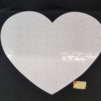 Very Large Heart Shaped Guest Book Puzzle with 76 XL White Puzzle Pieces FB