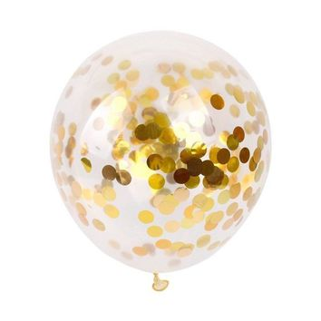 "12""  5Pcs Gold Foil Confetti Latex Balloons Helium Wedding Birthday Party Decor H33B7C"
