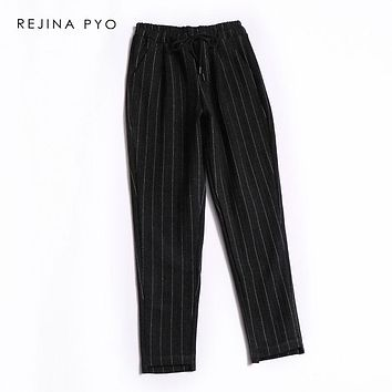REJINAPYO Women Classic Black Wool Blends Pant White Vertical Striped Casual Ankle-Length Pant Elastic Waist Drawstrings Trouser