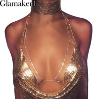Glamaker Halter backless shiny club rhinestones body chain bra Sexy summer beach chic women bra accessories